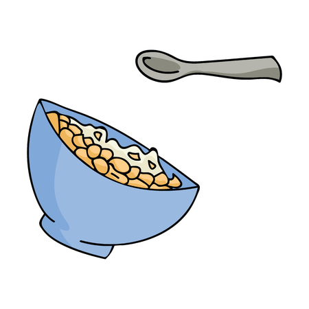 Cute breakfast cereal vector illustration of healthy oatmeal bowl. Hand drawn spoon kitchen utensil, isolated food for morning kitchen clipart.
