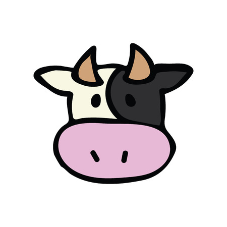 Cute cow head icon vector illustration. farm animal hand drawn for childrens clipart.