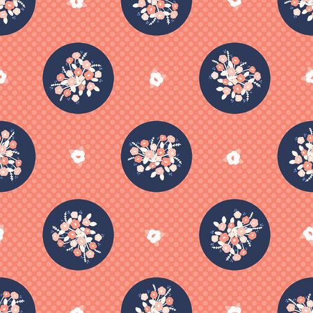 Hand drawn coral blue flower polka dot. Seamless vector pattern. Trendy stylish floral circles all over print. Illustration for celebration gift wrapping or fashion background. Illustration