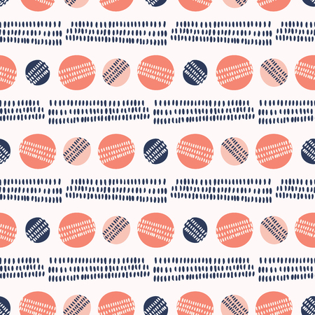 Hand drawn coral blue sketchy lines polka dot. Seamless vector pattern. Trendy stylish texture circles all over print. Illustration for modern gift wrapping or classic background.
