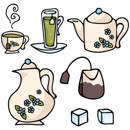 Cute vector cup icon set. Hand drawn illustration for morning beverage designs. Herbal leaf drink for cafe advert. Different types of tea, mint, earl grey, english breakfast clipart.