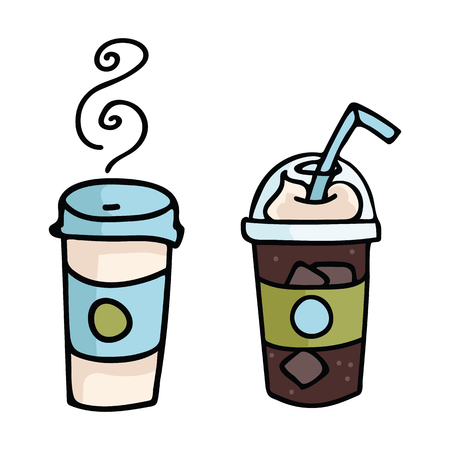 Cute coffee frappe cartoon vector illustration motif set. Hand drawn to go drink elements clipart for cafe blog, food graphic, cafe restaurant web buttons.