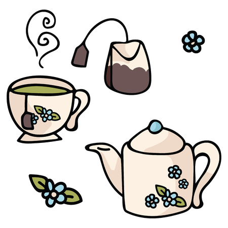 Cute tea set cartoon vector illustration motif set. Hand drawn floral teapot elements clipart for cafe blog, food graphic, cafe restaurant web buttons. Illustration