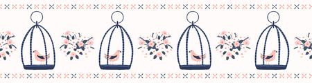 Hand drawn coral blue spring daisy bouquet with cute birdcage. Seamless vector border. Trendy kawaii song birdies. Edge trim illustration, animal wrap or elegant summer banner ribbon washi tape.