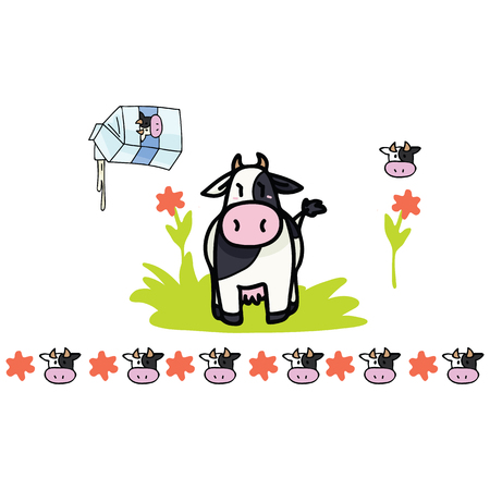 Cute cow milk cartoon vector illustration motif set. Hand drawn isolated farm animal dairy elements clipart for nature blog, holstein graphic, agriculture web buttons. Ilustração
