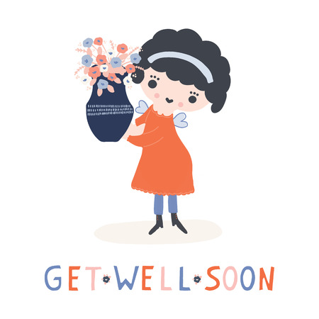 Hand drawn vector of kawaii cartoon girl angel fairy holding flower vase. Cute get well soon smiling girl illustration for health convalescence card, feel better concept and wellness prayer clipart. Illustration