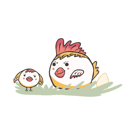 Cute cartoon vector Easter chicken with baby chick and egg Vetores