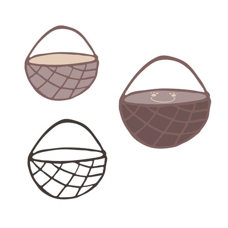 Kawaii empty woven brown basket illustration motif. Hand drawn picnic or foraging wicker container with handle. Lineart, color and cute smiling face isolated elements clipart set.