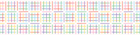 Criss Cross Maze Vector Pattern. Hand Drawn Seamless Border. Geometric Abstract Rainbow Lines Illustration for Trendy Fashion Prints, Modern Stationery, Banner Ribbon or Washi Tape.