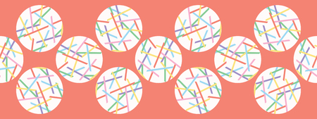 Pick up Stick Polka Dots Vector Ribbon. Hand Drawn Background. Geometric Abstract Rainbow Circles Lines Illustration for Trendy Kids Fashion Prints, Modern Stationery, Wallpaper and Home Decor.