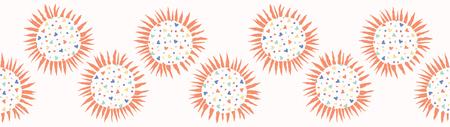 Love heart confetti polka dot sun. Seamless vector border. Hand drawn repeating edge trim. Abstract kawaii sunray circle illustration for trendy washi tape, kids room home decor banner ribbon.