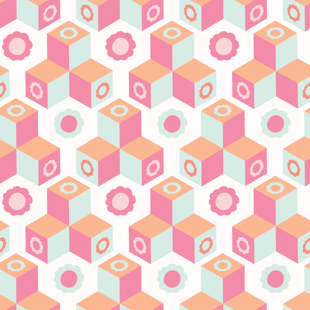 Retro floral geometric cube mosaic. Abstract seamless vector pattern. Trendy coral pink, mint green. Isometric all over print with 3d square daisy shape. Stylish illustration or home decor background.