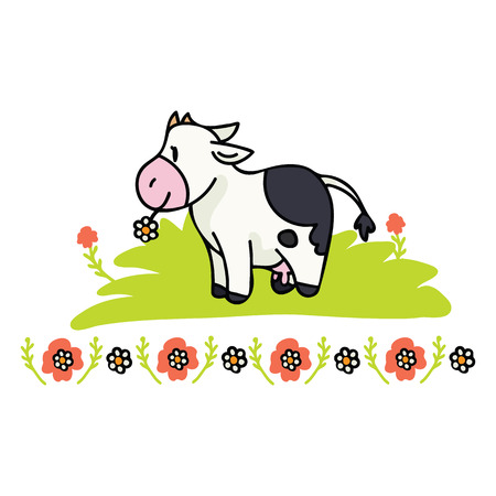 Cute cow daisy cartoon vector illustration motif set with border. Hand drawn isolated farm animal floral dairy elements clipart for nature blog, holstein graphic, agriculture web buttons.