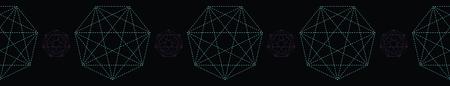 Geometrical symbol shape. Seamless repeating vector border. Glowing dark purple green light. Black esoteric banner ribbon. Spiritual concept. Sacred geometry drawing. Universal metaphysical harmony.