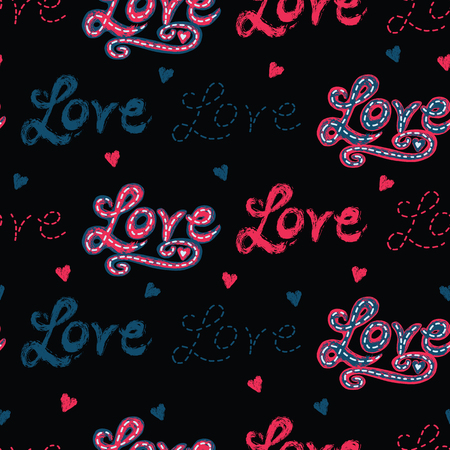 Red brush stroke dotty love hearts with denim blue stitched text. Hand drawn seamless repeating vector pattern. For valentines day background, romantic wedding or passion proposal textiles.