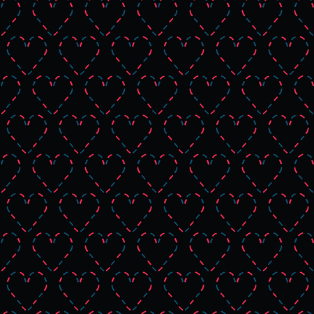 Red denim blue stitched love hearts on black moody background. Hand drawn seamless repeating vector pattern. For valentines day background, romantic wedding or passion proposal textiles.