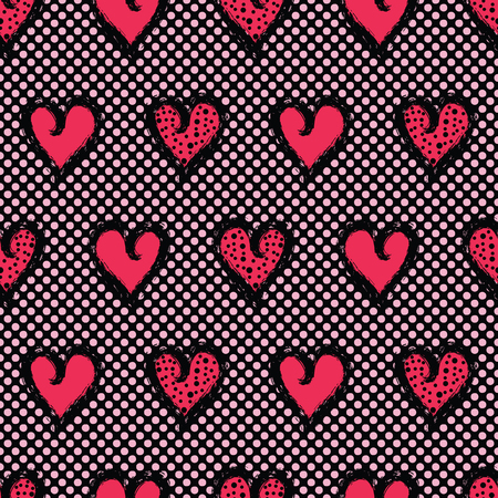 Red brush stroke dotty love hearts with 1950's style polka dots. Hand drawn seamless repeating vector pattern. For valentines day background, romantic wedding or passion proposal textiles. Illustration