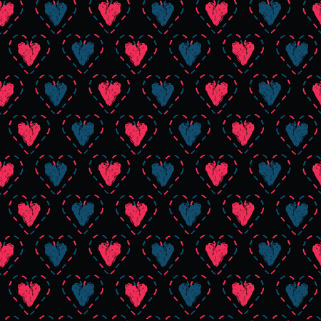 Red denim blue stitched love hearts, brush stroke on black moody background. Hand drawn seamless repeating vector pattern. For valentines day background, romantic wedding or passion proposal textiles. Illustration