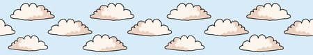 Hand drawn vector cloud illustration. Seamless repeating border of white fluffy wind lineart on cloudy blue banner ribbon. Sketchy creative lineart for edge trim, kids fashion, weather forecast tape.