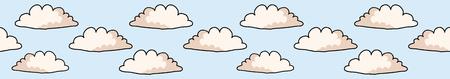 Hand gezeichnete Vektorwolkenillustration. Nahtlose, sich wiederholende Grenze aus weißer, flauschiger Windlinie auf bewölktem blauem Bannerband. Skizzenhaftes kreatives Lineart für Kantenbeschnitt, Kindermode, Wettervorhersageband.