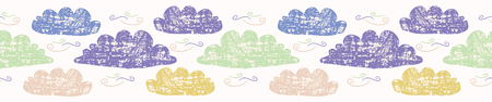 Hand drawn vector cloud illustration. Seamless repeating borderof fluffy silhouette on cloudy white sky banner ribbon. Art for cloudy computer communication wallpaper edge or kids weather washi tape. Stock Illustratie
