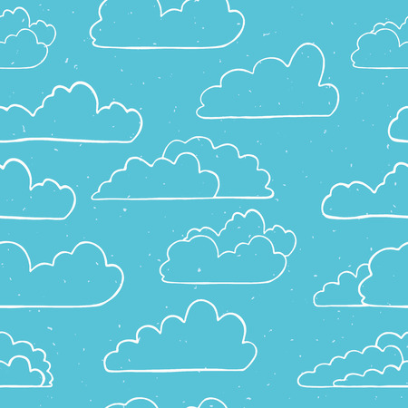Hand drawn vector cloud illustration. Seamless repeating pattern of fluffy silhouette on cloudy blue sky background. Art for cloudy computer communication wallpaper or web connection concept.