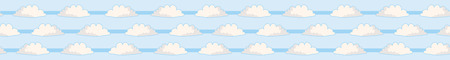 Hand drawn vector cloud illustration. Seamless repeating border of fluffy silhouette on cloudy blue sky banner ribbon. Art for cloudy computer communication wallpaper edge or web connection concept. Stock Illustratie