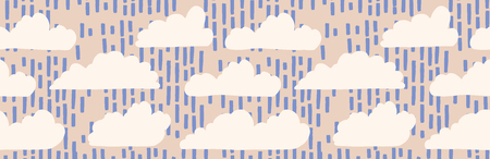 Hand drawn vector rain cloud illustration. Seamless repeating border of white fluffy rainy day lineart on cloudy banner ribb. Sketchy creative lineart for cloudy wallpaper trim, kids weather tape.