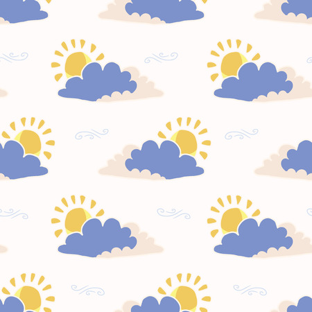 Hand drawn vector cloud and sun illustration. Seamless repeating pattern of fluffy cloudy sky on white background. Sketchy creative wallpaper, trendy kids nursery fashion or weather forecast.