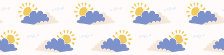 Hand drawn vector cloud and sun illustration. Seamless repeating border of fluffy cloudy sky on white banner ribbon. Sketchy creative wallpaper edge, trendy kids nursery fashion trim, weather tape. Illustration