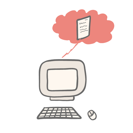 Hand drawn vector computer cloud server illustration. Elements icon with keyboard, mouse, file storage. Clipart for web communication, connectivity concept or folder storage connection. Isolated sign