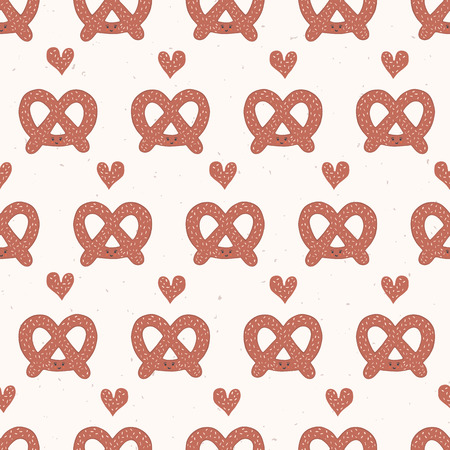 Cute vector pretzel cartoon with smiling face and love heart. Seamless repeating food pattern illustration. Hand drawn kawaii bakery bread for kitchen foodie blog, oktoberfest restaurant background.