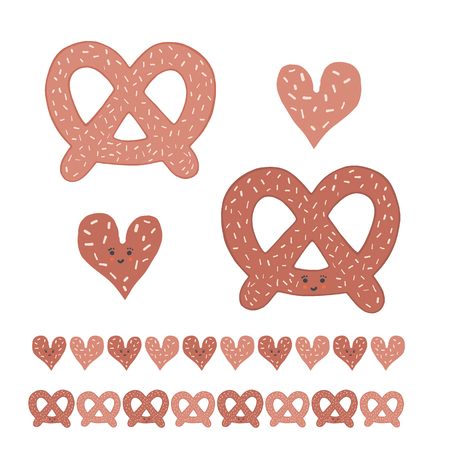 Cute pretzel cartoon with smiling face and heart. Vector illustration motif set. Hand drawn kawaii bakery bread clipart for kitchen foodie blog, german beer festival background, restaurant table menu.