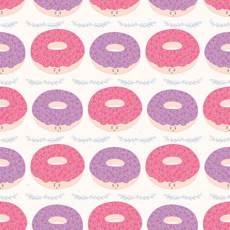 Cute pink donut cartoon with rainbow sprinkles vector illustration. Seamless repeating pattern. Hand drawn kawaii pastry with smiling face for bakery foodie blog, kitchen decor, cafe all over print.