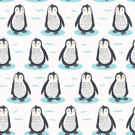 Cute cartoon penguin chick vector illustration. Seamless repeating pattern . Hand drawn kawaii animal character. For nursery all over print, new baby shower background, wildlife zoo textiles.