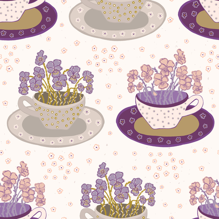 Graziosa tazza di fiori con motivo a bouquet di viole del pensiero. Ripetizione senza soluzione di continuità. Illustrazione vettoriale disegnato a mano. Delicate fioriture di petali in una tazza da tè decorativa nei toni tenui del viola melanzana. Per giardino botanico.