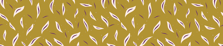 Pretty tossed leaves border. Seamless repeating. Hand drawn vector illustration. Delicate sketchy leaf lineart in decorative purple mustard yellow banner ribbon. For summer garden home decor tape.