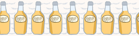 Cute bottle of golden syrup vector illustration. Seamless repeating border. Hand drawn glass container filled with liquid and creative lettering. For pancake day menu, food blog banner ribbon edging.
