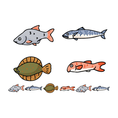 Cute english fish cartoon vector illustration motif set. Hand drawn british sealife elements clipart for kitchen foodie blog, food graphic, fishery seafood web buttons. Standard-Bild - 124889838