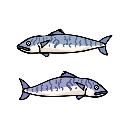 Cute mackerel fish cartoon vector illustration motif set.
