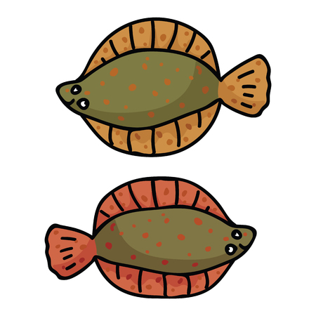 Cute flounder cartoon vector illustration motif set. Hand drawn british fish elements clipart for kitchen foodie blog, food graphic, fishery seafood web buttons. Illustration