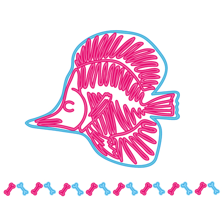 Fish light neon skeleton vector illustration. Cartoon motif set with border.