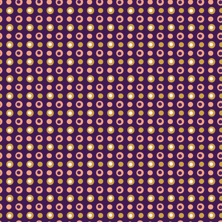 Tiny polka dot stripes pattern. Seamless repeating. Hand drawn vector illustration. Pretty dots circles in decorative mustard yellow on purple background. Summer fashion, retro home decor.