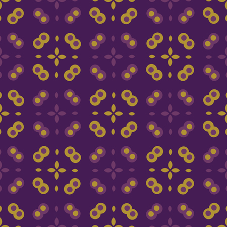 Abstract polka dot grid pattern. Seamless repeating. Hand drawn vector illustration. Geo dots circles quilt style in decorative mustard yellow, purple background. Masculine fashion, retro home decor.