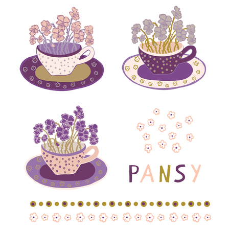 Pretty flower cup with bouquet of pansies. Hand drawn vector illustration clipart motif set. Delicate petal blooms in decorative teacup in purple spring tones. For garden, home decor botanical card.