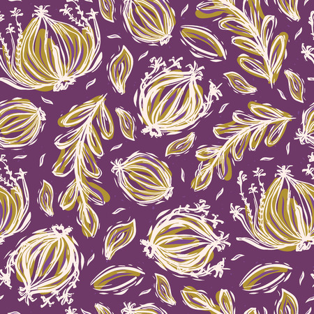 Pretty tossed leaves pattern. Seamless repeating. Hand drawn vector illustration. Sketchy bold leaf seedpod lineart in decorative mustard yellow purple tones. For botanical summer garden home decor.
