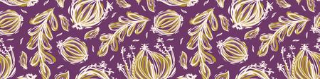 Pretty tossed leaves border. Seamless repeating. Hand drawn vector illustration. Sketchy bold leaf seedpod banner ribbon.decorative mustard yellow purple . Botanical summer garden edging, home decor.