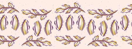 Pretty leaves border. Seamless repeating. Hand drawn vector illustration. Sketchy leaf branch lineart in decorative mustard yellow pink banner ribbon. For botanical summer garden trim.