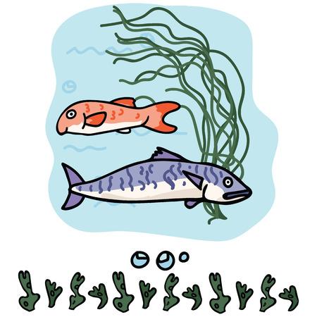 Cute ocean fish cartoon vector illustration motif set. Hand drawn mackerel and red mullet elements clipart for ocean life blog, marine graphic, wildlife web buttons. Standard-Bild - 124749057