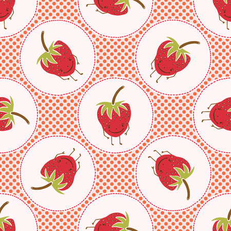Cute strawberries polka dot vector illustration. Seamless repeating pattern. Hand drawn kawaii dotty red berry background. 1950s style retro kitchen decor, kids textiles, 5aday fruit all over print.